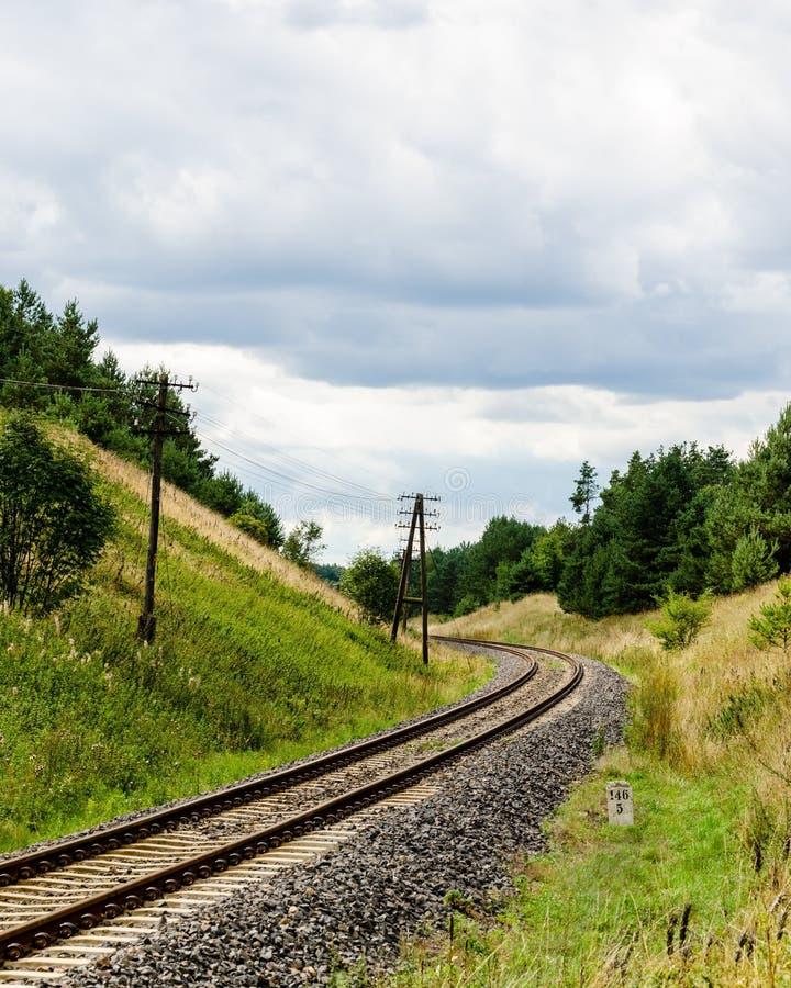 trilhas de estrada de ferro no meio da floresta imagem de stock royalty free