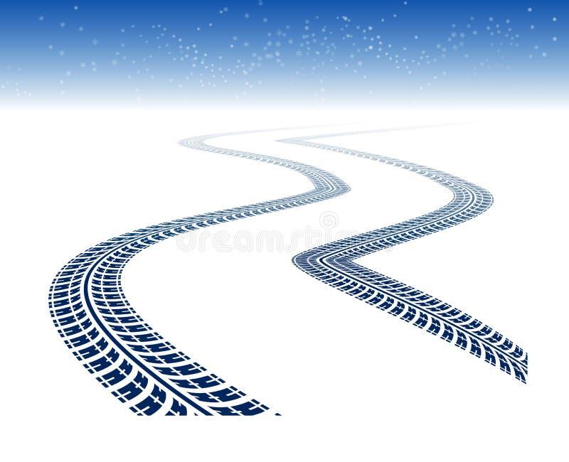 Trilhas do pneu do inverno ilustração stock