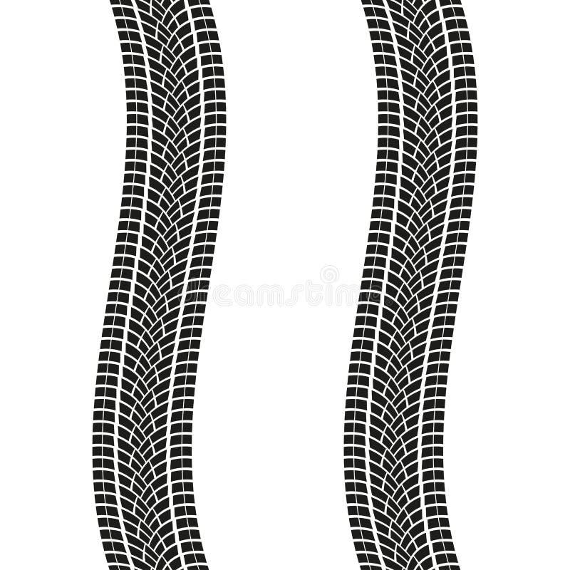 Trilhas do pneu isoladas no fundo branco Cópias do pneumático do enrolamento Ilustração do vetor ilustração royalty free