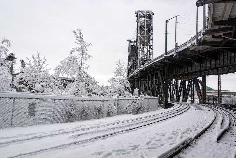 Trilhas e neve do trem fotos de stock royalty free
