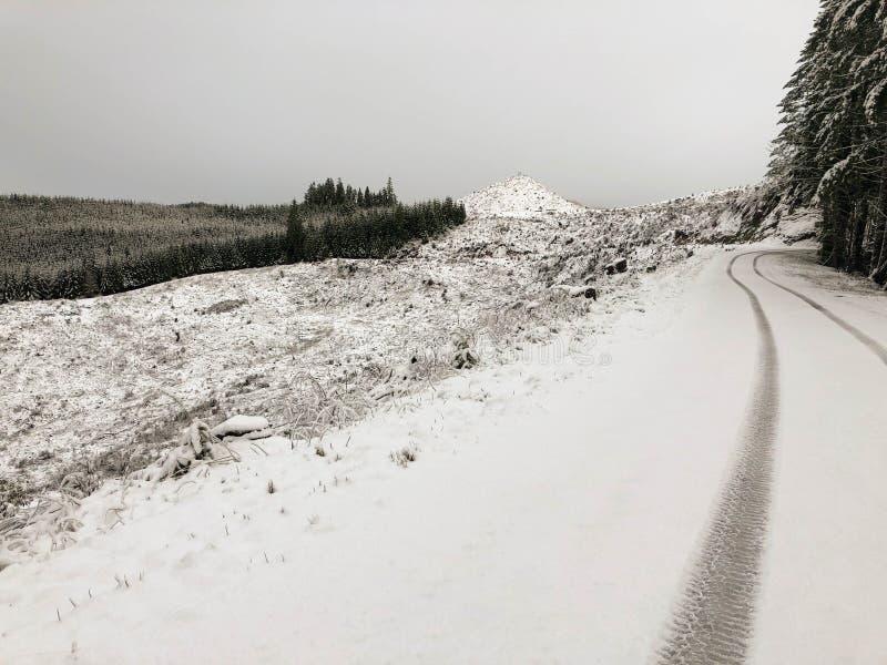 Trilhas na estrada coberto de neve da montanha fotos de stock