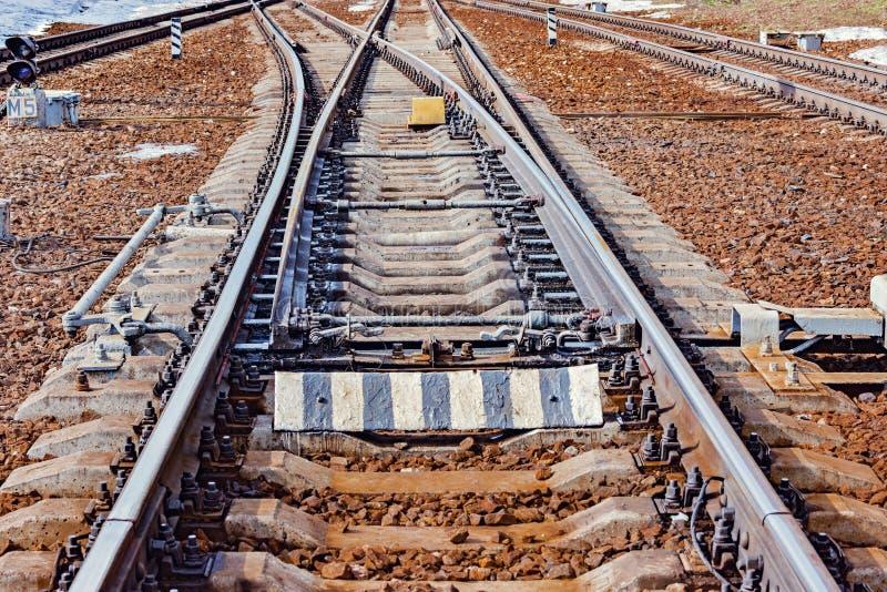 Trilhas Railway na estação grande fotografia de stock