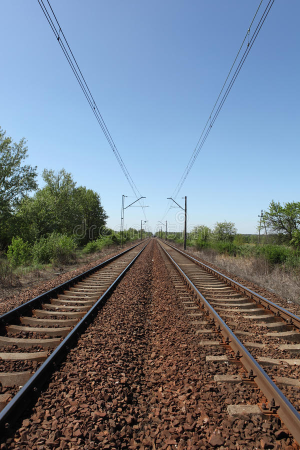 Trilhas railway Receding foto de stock