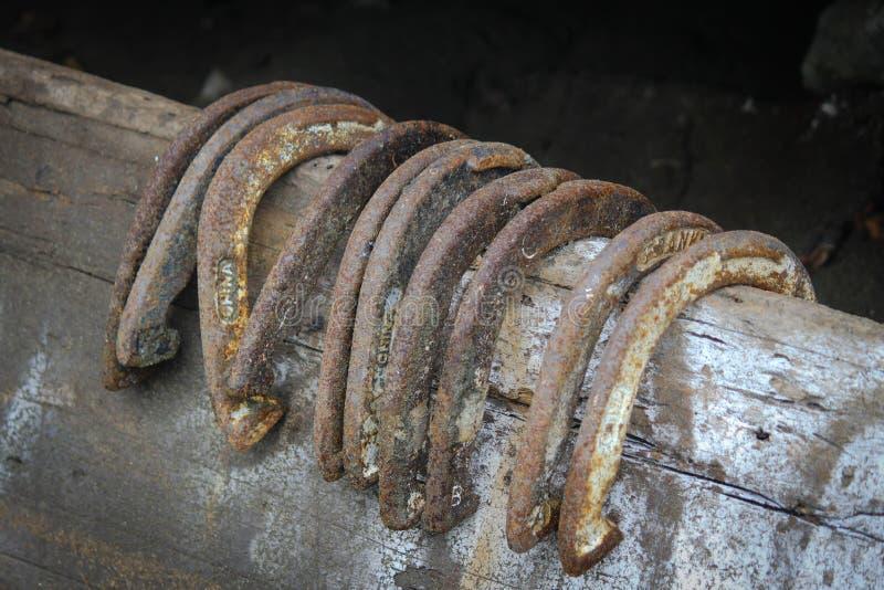 Trilho de cerca de madeira que guarda dez sapatas antigas afortunadas do cavalo imagens de stock