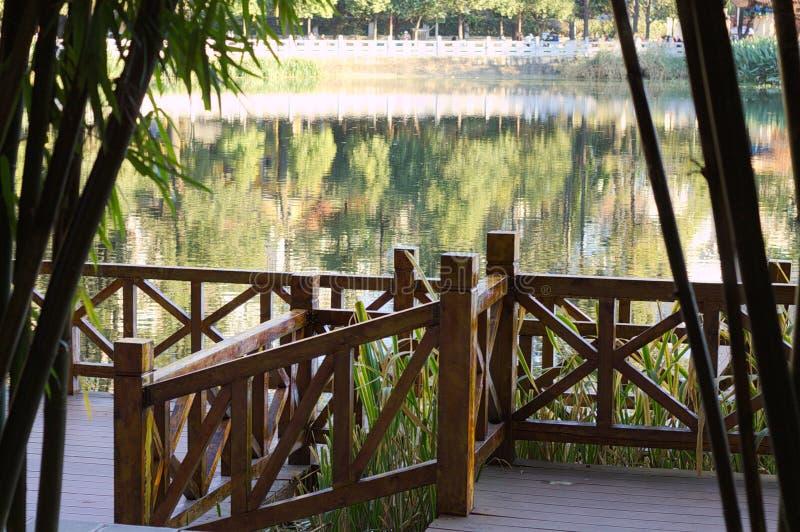 Trilhos de madeira acima do lago verde imagens de stock royalty free