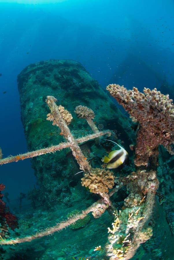 Trilhos e funil laterais do shipwreck imagens de stock