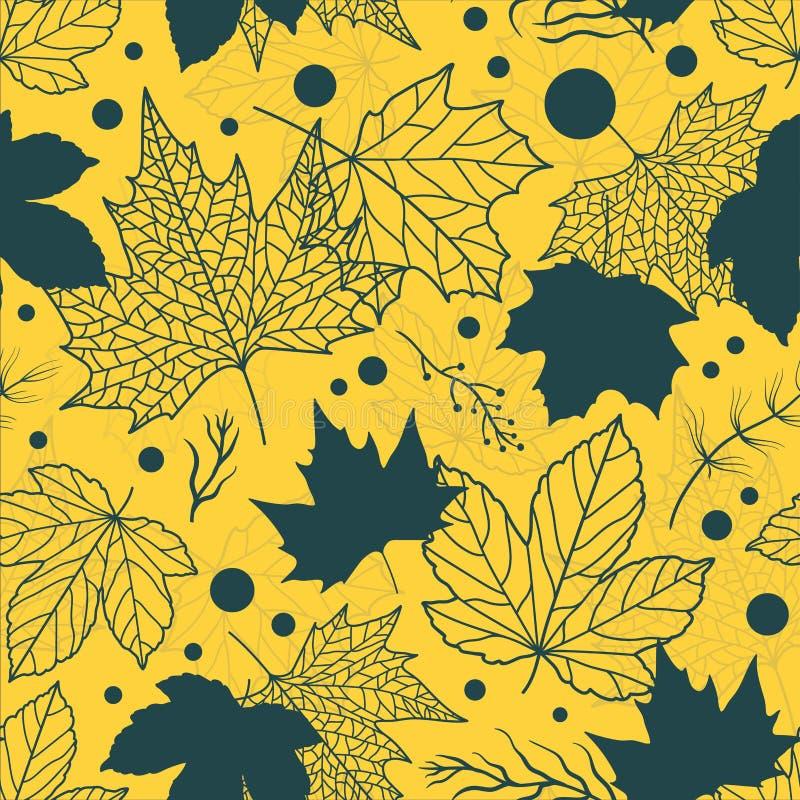 Trillend Mooi bloemenbladeren naadloos patroon, hand getrokken esdoornbladeren, de creatieve achtergrond van de lijnkunst, groot  vector illustratie