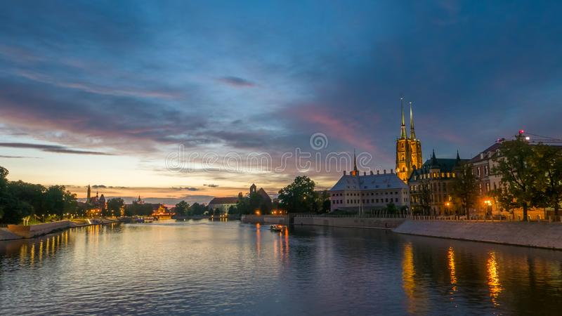 Trillend panorama van Europese stad, Wroclaw royalty-vrije stock foto's