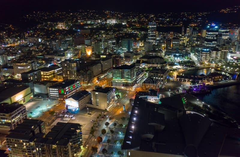 Trillend Satellietbeeld van Wellington City en Te Papa Park, Nieuw Zeeland stock afbeeldingen
