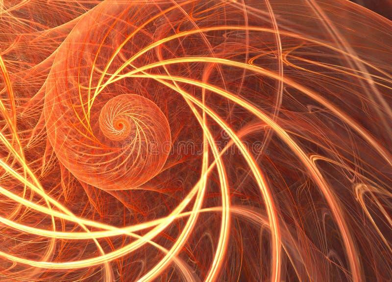 Trillende fractal met een zon spiraalvormig patroon Een digitaal beeld is aangaande vector illustratie
