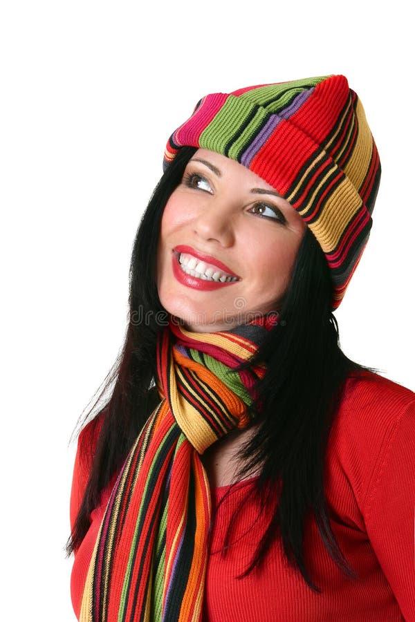 Trillende glimlachende vrouw stock afbeelding