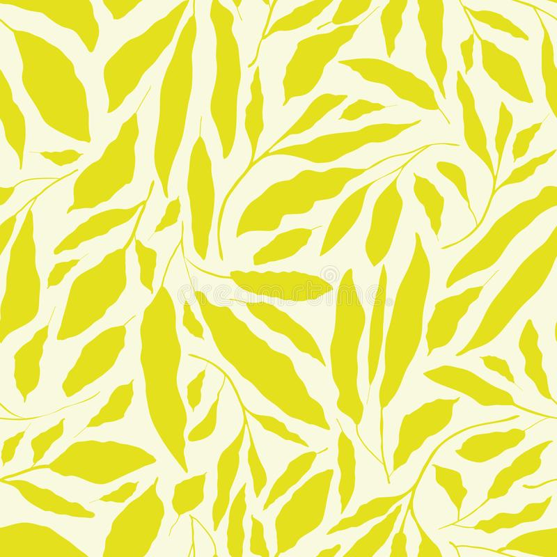 Trillende kalk groene hand getrokken bladeren op neutrale roomachtergrond Het naadloze vectorontwerp met verse organisch voelt royalty-vrije illustratie