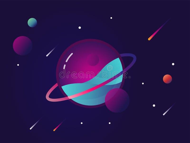 Trillende kleurrijke planeet met sterren en verzendende kometen Kosmische ruimte conceptueel pictogram in moderne vlakke materiël stock illustratie