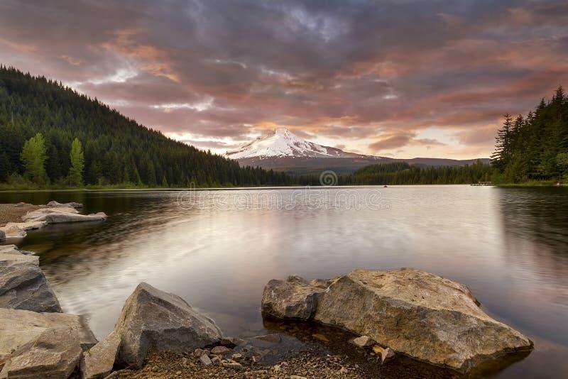 Trillium Lake Sunset in Oregon royalty free stock photos