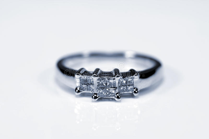 Trilogy Diamond White Gold Ring Royalty Free Stock Image