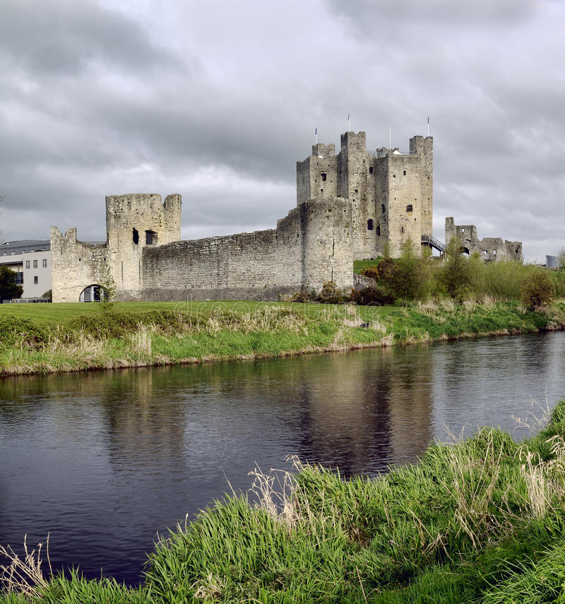Trim castle. The medieval irish kings castle at Trim, County Meath, Ireland. Spring season, early morning stock photography