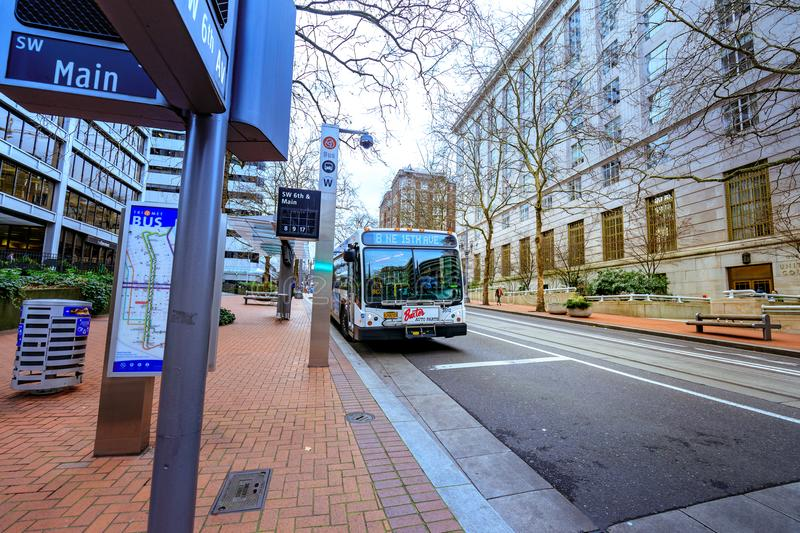 TriMet bus station in front of United States Court House building in downtown Portland. Portland, Oregon, United States - Dec 19, 2017: TriMet bus station in royalty free stock image