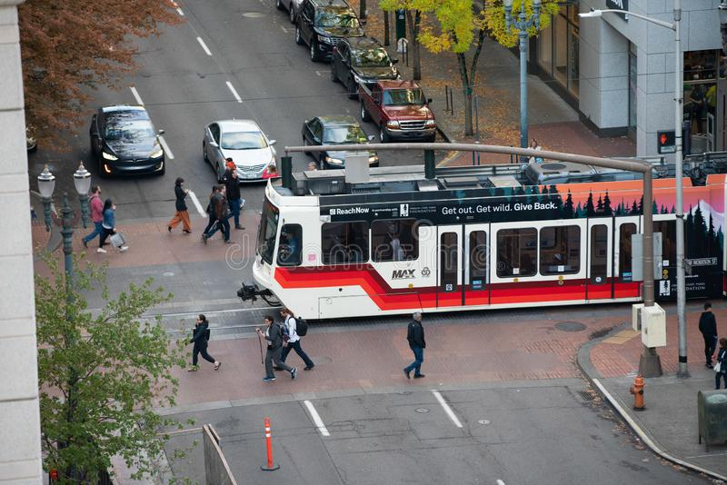 Trimet light rail in downtown royalty free stock photo