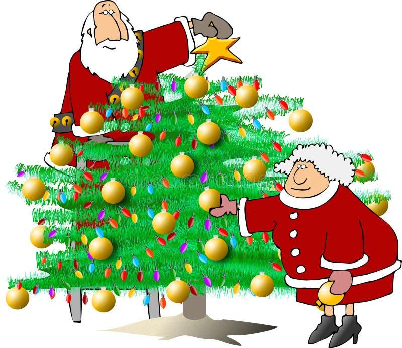Trimmen des Weihnachtsbaums vektor abbildung