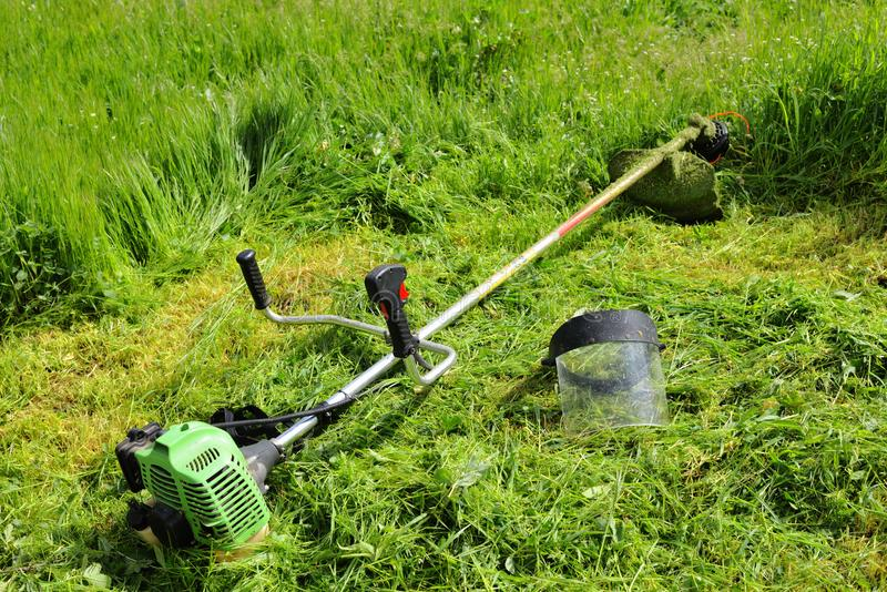Trimmer for cutting grass. Lies on green beveled grass royalty free stock images