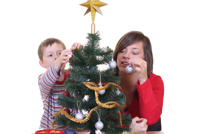 Download Trimming The Christmas Tree Stock Image - Image: 1547247
