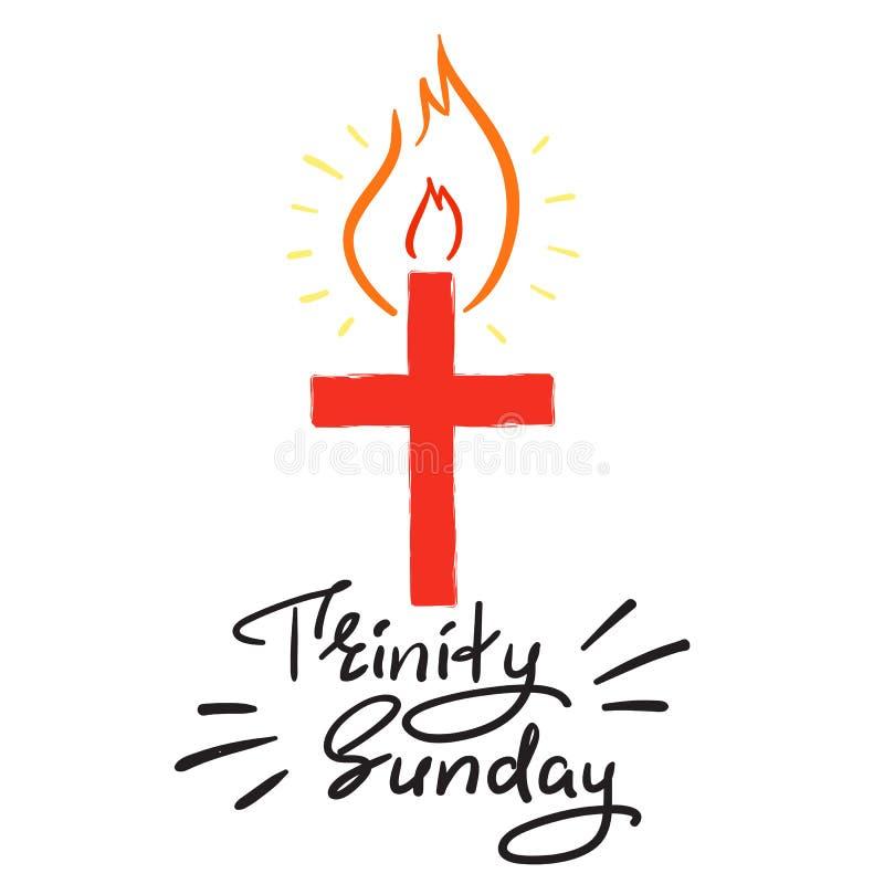 Trindade domingo - rotulação inspirador das citações, cartaz religioso Cópia para o cartaz, ilustração do vetor