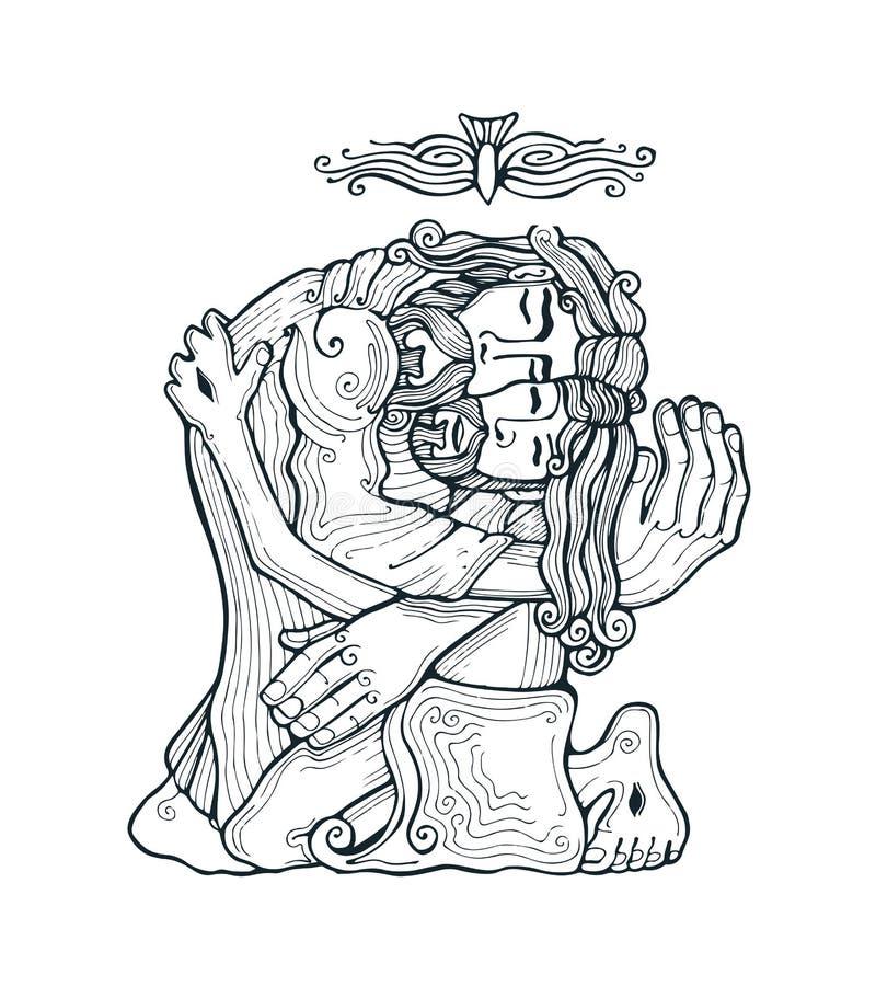 Trindade santamente e ilustração do vetor