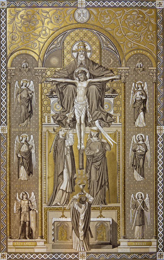Trindade santamente - romanum 1927 de Missale fotos de stock