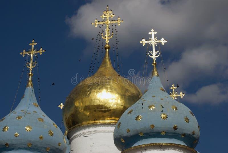 Trindade Sergius Lavra em Rússia Abóbadas da catedral de Dormition fotos de stock
