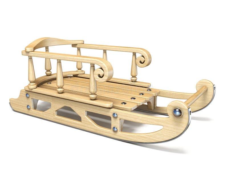 Trineo adornado de madera 3D stock de ilustración