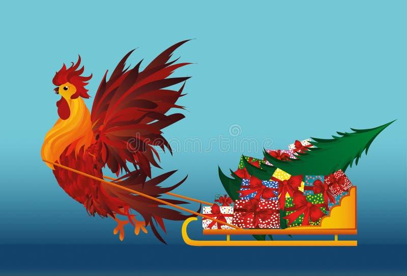 Trineo afortunado del gallo con los regalos y el árbol de navidad Vector ilustración del vector