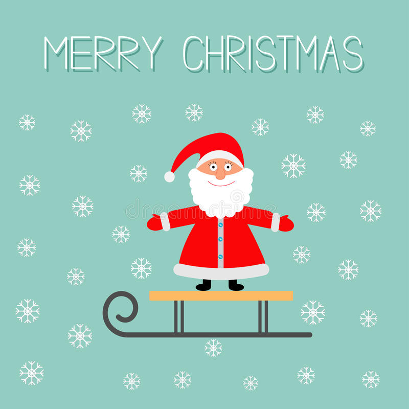 Trineo con el fondo del azul de Santa Claus y del copo de nieve Diseño plano de la tarjeta de felicitación de la Feliz Navidad ilustración del vector