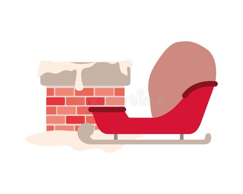 Trineo con el icono aislado chimenea de la Navidad ilustración del vector
