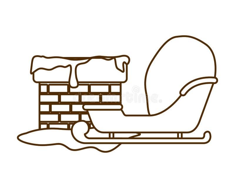 Trineo con el icono aislado chimenea de la Navidad libre illustration
