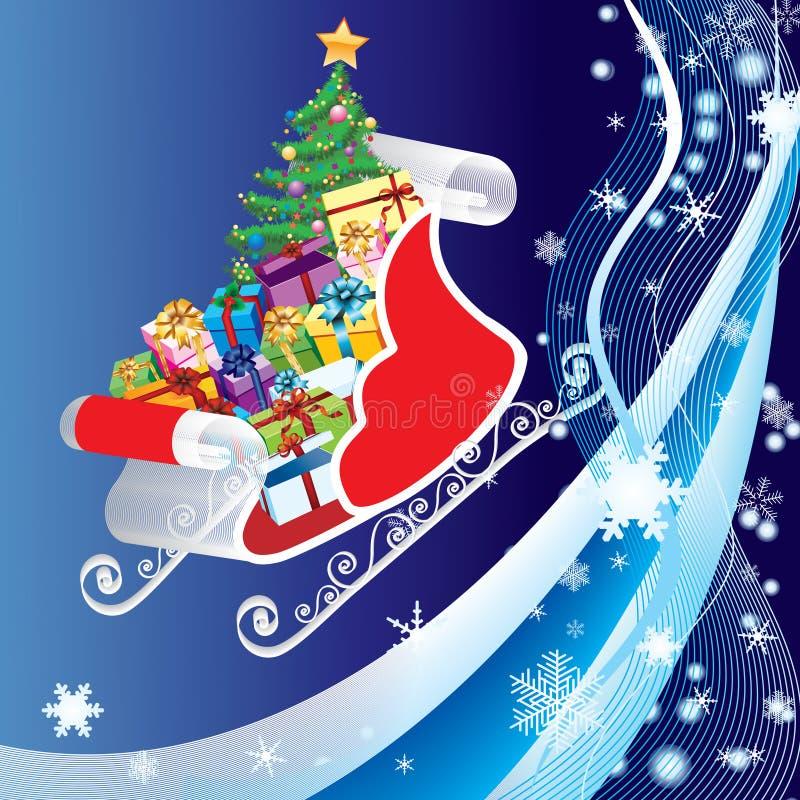 Trineo con el pino y los regalos. libre illustration