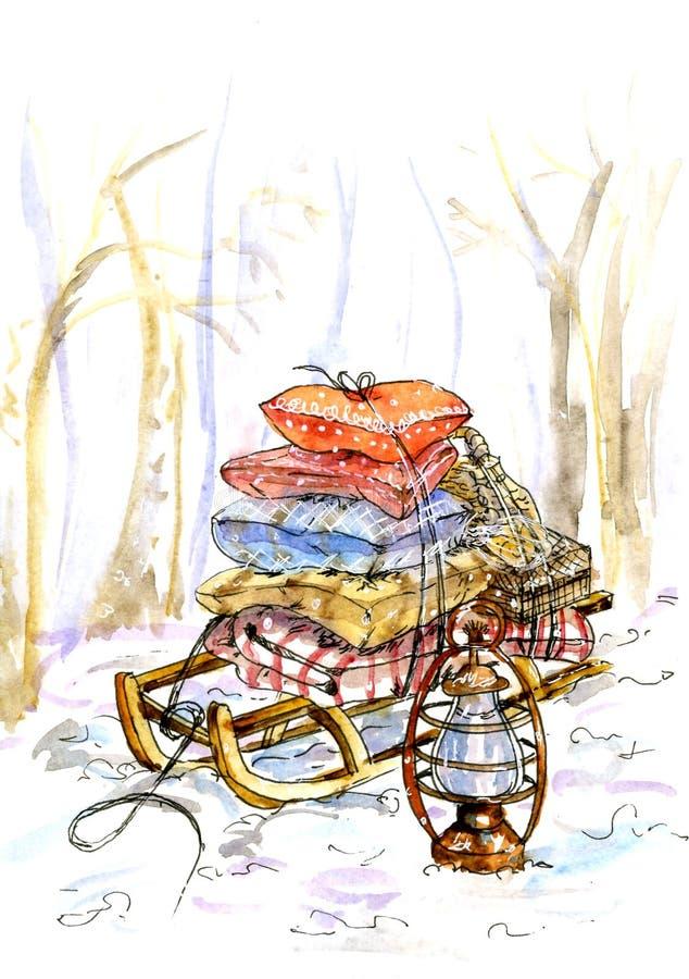 Trineo con las almohadas y los regalos para el día de fiesta Pintado en acuarela libre illustration