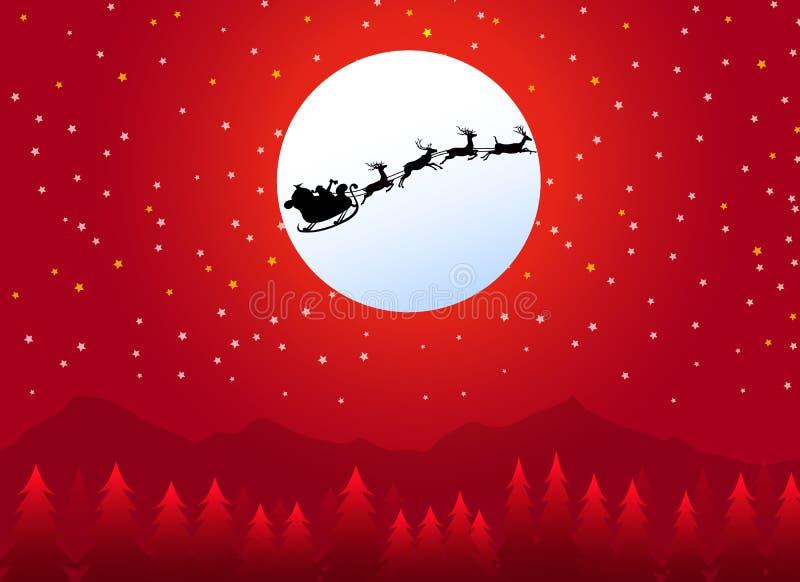 Trineo con Santa Claus en la noche de la Navidad libre illustration