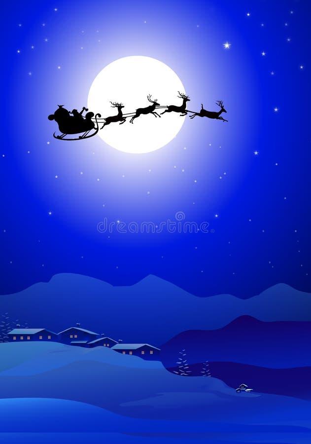 Trineo con Santa Claus en la noche del invierno ilustración del vector