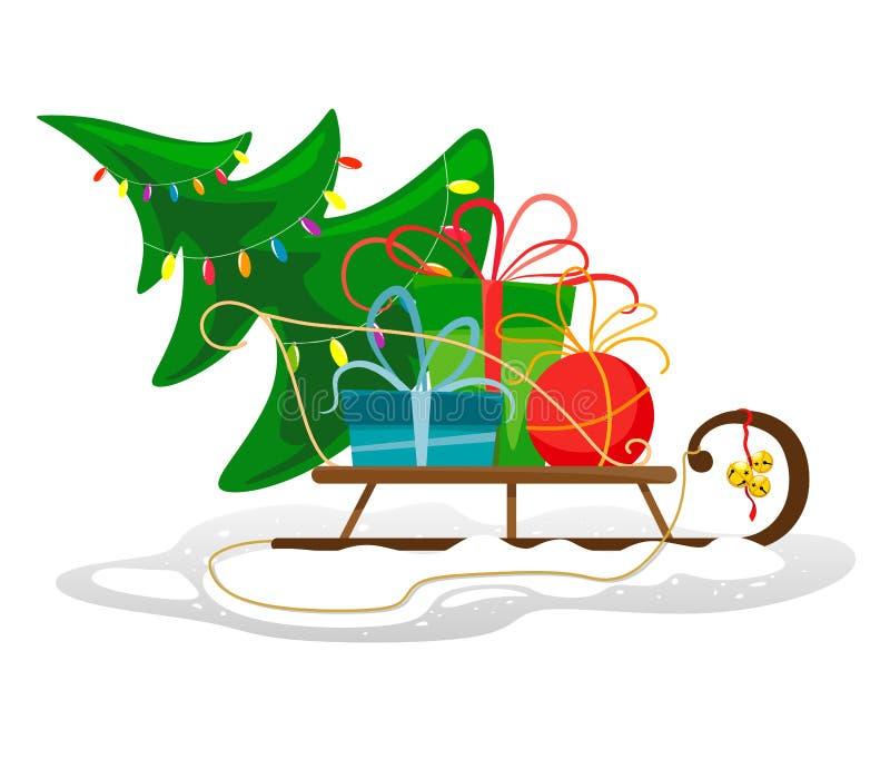 Trineo con un árbol de navidad adornado y los regalos en la nieve stock de ilustración
