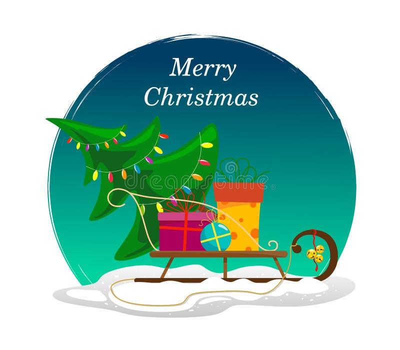 Trineo con un árbol de navidad adornado y los regalos en la nieve, con Feliz Navidad del texto en fondo azul redondo de la turque ilustración del vector