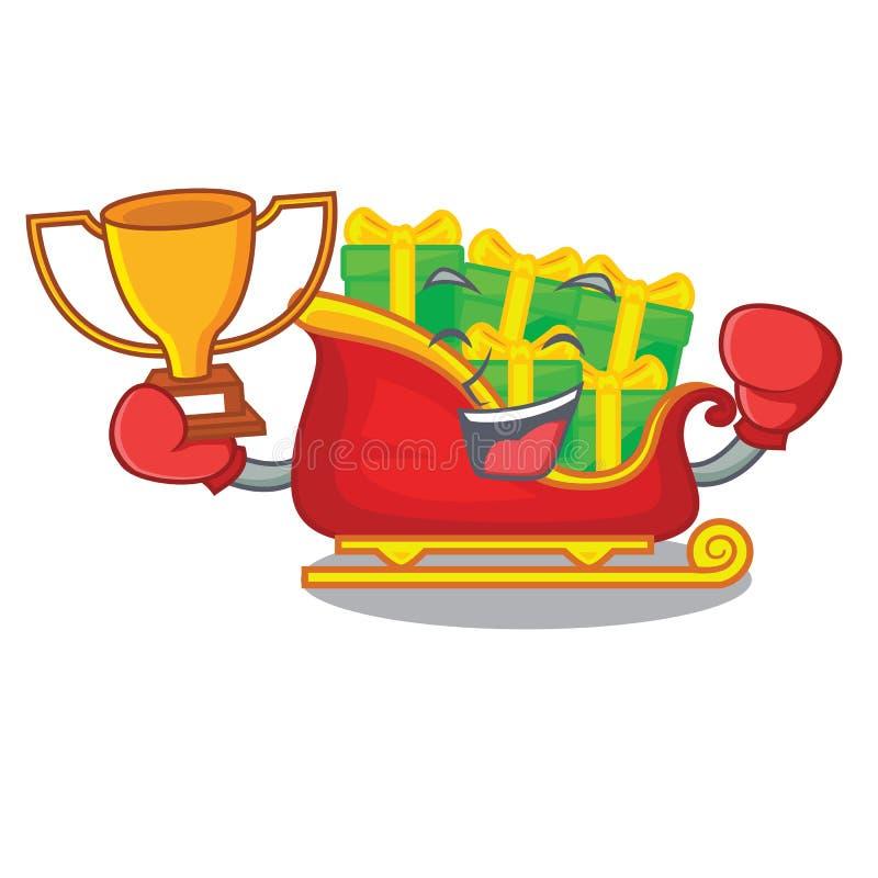 Trineo de encajonamiento de Papá Noel de la Navidad del ganador aislado en mascota ilustración del vector