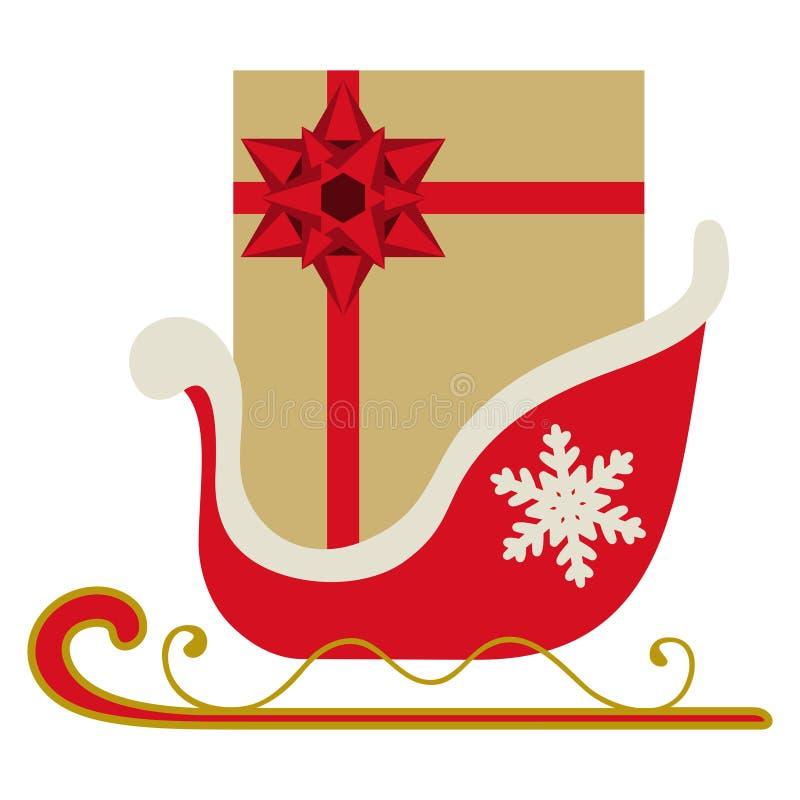 Trineo de la Navidad con el regalo ilustración del vector