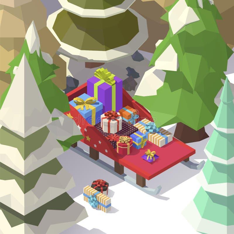 Trineo de la Navidad en un bosque libre illustration