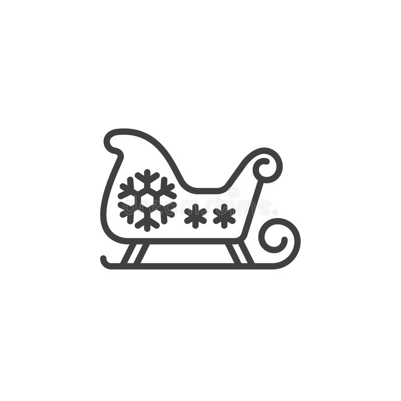 Trineo de la Navidad, línea icono, muestra del vector del esquema, l del trineo del ` s de Papá Noel stock de ilustración