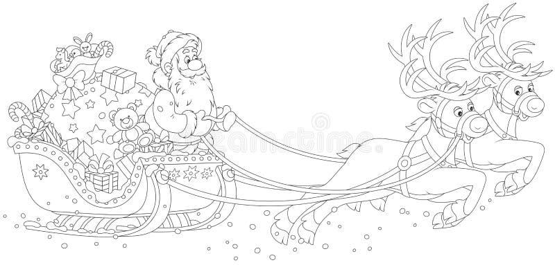 Trineo de la Navidad de Papá Noel stock de ilustración