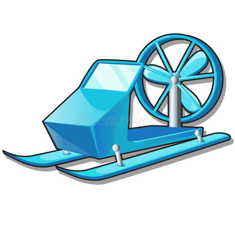 Trineo de la nieve con una fan o una turbina aislada en el fondo blanco Equipo para las actividades al aire libre y los niños del stock de ilustración