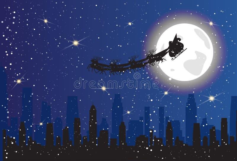 Trineo de la silueta de la ciudad de la noche de Santa Riding Reindeer Sledge Over en concepto de la Navidad del cielo ilustración del vector