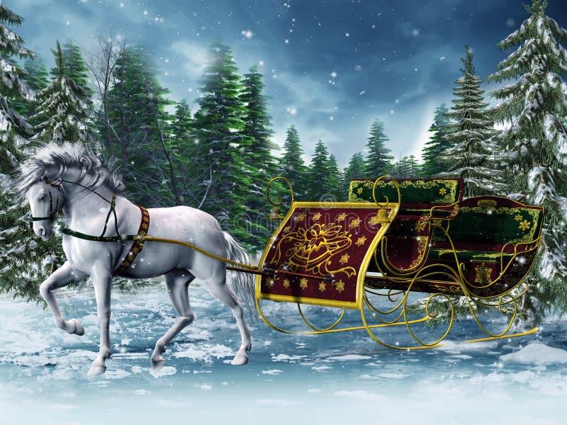 Trineo de la vendimia y un caballo stock de ilustración