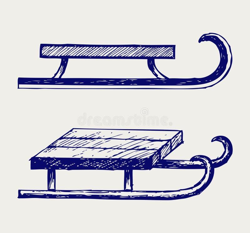 Trineo de madera stock de ilustración