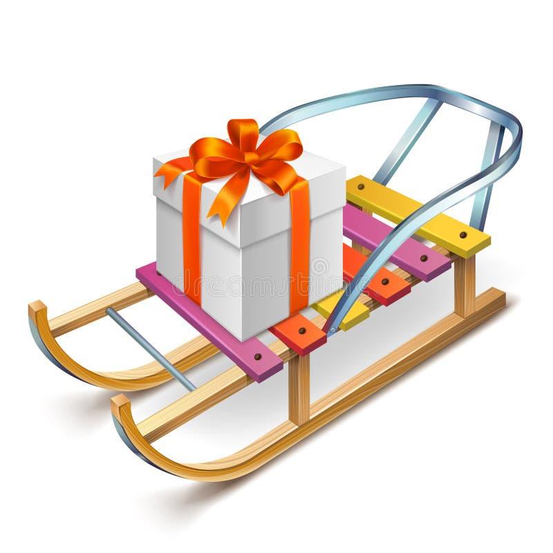 Trineo de madera con una caja en ella ilustración del vector